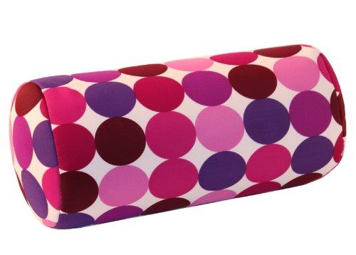 Invitalis Nackenrolle mit Mikroperlen in 19 Farben - Öko tex Standard 100 - Orthopädisches Relaxkissen als Kopfkissen, Reisekissen und Nackenkissen Zuhause oder auf Reisen - Punkte Lila/Pink