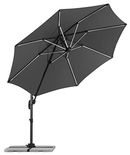 Schneider-Schirme rund Sonnenschirm Rhodos Blacklight, 8-teilig, Anthrazit, 356 x 300 x 255 cm