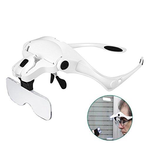 Rightwell Lupenbrille Led Licht Hände Frei Kopfband Lupen Lampe Stirnband Brille Lupen Verstellbare für Hobby,Denest,Elektriker,Juweliere,Nähen,Handwerk,Kosmetik und ältere Menschen-2er LEDs,1.0X, 1.5X, 2.0X, 2.5X, 3.5X