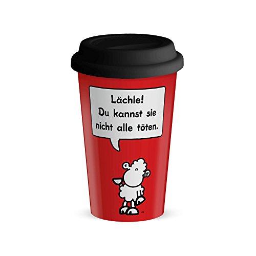 Die Geschenkewelt 44422 Becher mit sheepworld Motiv Lächle, Du kannst sie nicht alle töten, Porzellan, 45 cl, mit Silikon-Deckel, rot, schwarz