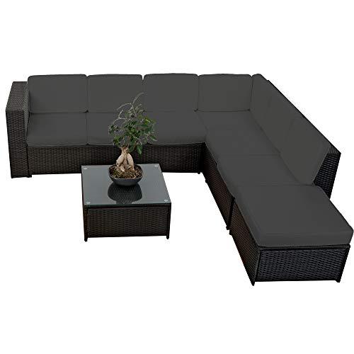 20tlg. Deluxe Lounge Garnitur Set Gruppe Polyrattan Sitzgruppe Gartenmöbel Loungemöbel  - handgeflochten - schwarz von XINRO