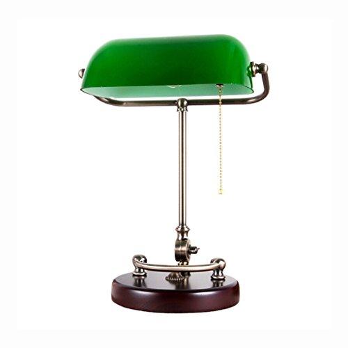 Best wishes shop tischleuchte- Traditional Antique Banker Schreibtisch Leselampe mit massivem Holz und grünen Glasschirm (Pull-Line-Schalter) E27