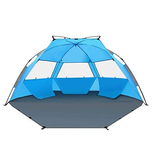 TAGVO Pop-up Strandmuscheln, schnell aufzubauender Sonnenschutz, Quick Bay Strand-Zelt mit UV-Schutz, Quick Shell Strandmuschel und Sonnenschirm Strandzelt 3 Mesh Bildschirm Windows Gute Belüftung