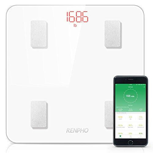 RENPHO Körperfettwaage, Bluetooth Personenwaage mit APP, Smart digitale Waage für Körperfett, BMI , Gewicht, Muskelmasse, Wasser, Protein, Skelettmuskel, Knochengewicht, BMR, usw.