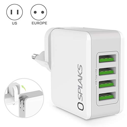 Splaks USB Ladegerät 4-Port 24W 5V/4.8A Wall Charger Netzteil mit EU Adapter und integriertem USA Reiseadapter für Galaxy iPhone iPad Bluetooth/Tragbar Geräte USB-Ladene Geräte-Weiß