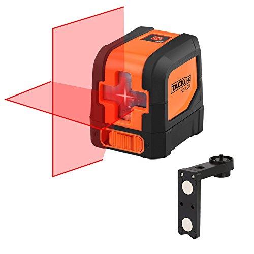 Tacklife SC L01 Klassischer Kreuzlinien- Laser mit Messbereich 10M und Neigungsfunktion, 110 Grad selbstnivellierenden Kreuzlinienlaser IP 54 Staub- und Spritzwasserschutz( inkl. Schutztasche)