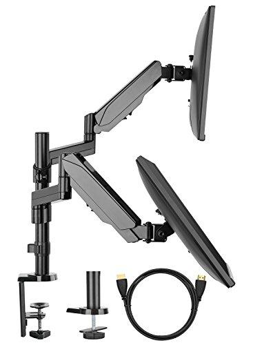 HUANUO Monitor Halterung 2 Monitore, Schwenkbare Neigbare Bildschirmhalterung mit Gasdruckfeder Arm für Monitore von 17 bis 32 Zoll mit VESA 100x100,75X75mm, Max. Tragfähigkeit 8kg