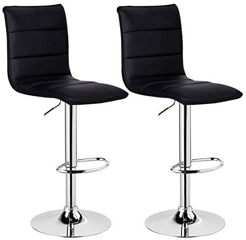 WOLTU BH15sz-2 Design Hocker mit Griff , 2er Set , stufenlose Höhenverstellung , verchromter Stahl , Antirutschgummi , pflegeleichter Kunstleder , gut gepolsterte Sitzfläche , schwarz