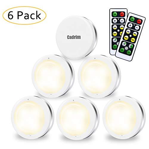 6er Schrankleuchten,Cadrim Wandleuchter LED Unterbauleuchte Set Treppenlicht Unterbauleuchte Batteriebetrieben Schrank Lichter für Schlafzimmer, Kleiderschrank, Kabinett, Küche