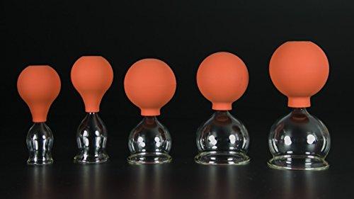 5er Schröpfglas-Set mit Ball 25-35-45-55-60mm zum professionellen, medizinischen, feuerlosen Schröpfen, Schröpfglas, Schröpfgläser, Lauschaer Glas das Original
