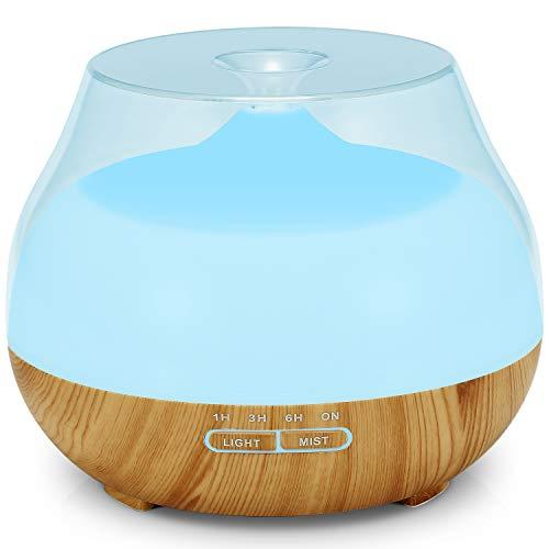 Aroma Diffuser 400ml Tenswall Luftbefeuchter, Öldiffusoren-Luftbefeuchter mit 7 bunten LED-Leuchten, einstellbarer Nebelmodus für Zuhause, Yoga, Büro, Spa, Schlafzimmer, Babyzimmer