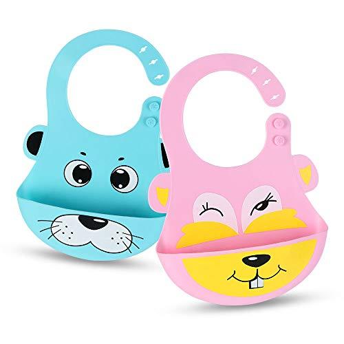 VLCOO Lätzchen, 3pcs Wasserdicht Baby Lätzchen mit Ärmeln Cartoon Drucken Lang Ärmellätzchen, Essen und Play Smock Schürze für Kinder im Alter