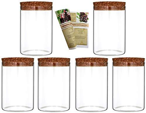gouveo 6er Set 500 ml Glasdosen Vorratsdosen aus Borosilikatglas mit Korkverschluss, Vorratsgläser, Gewürzgläser (6, 500 ml)