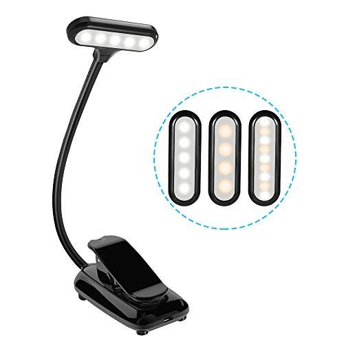 Leselampe LED Buchlampe USB Wiederaufladbar, Karrong Leseleuchte Klemme Buch Licht Klemmleuchte mit 9 LED, 3 Modi Dimmbar Helligkeit Flexibel Leselicht, für Nacht Lesen Kinder Kindle Schlafzimmer Büro