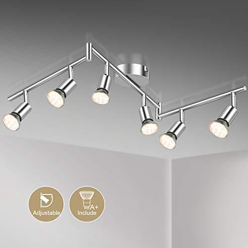 Defurhome LED Deckenleuchte Drehbar, 6 Flammig LED Strahler Deckenlampe Spot,Modern Deckenstrahler (Weißes Chrom) für Küche, Wohnzimmer, Schlafzimmer, inkl. 6 x 4 W GU10 LED Lampen (400LM, warmweiß)