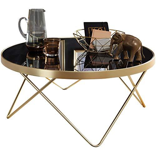 FineBuy Design Couchtisch Daina Ø 82 cm schwarz/matt Gold Beistelltisch Metall/Glas | Tisch mit Glasplatte | Ablagetisch modern | Großer Wohnzimmertisch | Glastisch mit Metallgestell