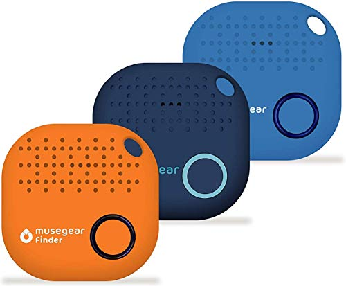 musegear Schlüsselfinder mit Bluetooth App I 3er Pack bunt I Version 2 I dunkelblau, orange, hellblau