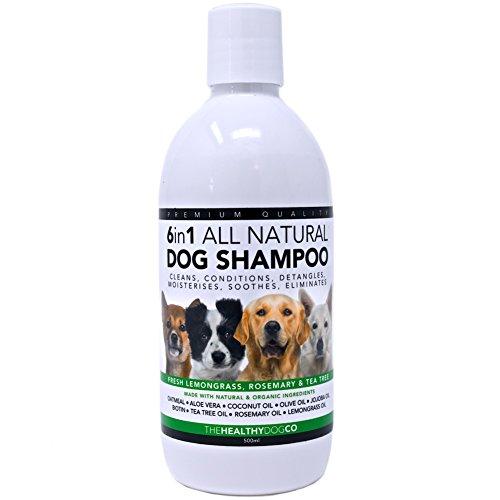 6 in 1 vollkommen natürliches Hundeshampoo | Zitronengras, Rosmarin und Teebaumöl | 500 ml | Die beste Waschlösung für gesunde Hunde | Reinigt, konditioniert, entwirrt, befeuchtet, verhindert Juckreiz, eliminiert Krankheitskeime und Gerüche