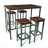 CHYRKA Bartisch Stehtisch Barhocker Barstuhl BarMöbel SAMBOR Loft Vintage Bar Industrie Design Handmade Holz Metall (Tisch 120 + 4 Hocker)