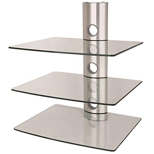NEG Multimedia TV-Rack SUSPENDER 503S (silber) mit 3 Glas-Ablagen (extra groß, 15kg pro Ablage) und Kabelmanagement-System