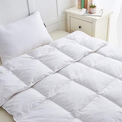 HOMEFOUCS Luxus Daunen Federn Decke Federn Daunen Bettdecke Steppdecke, 100% Baumwolle Bezug,135x200cm
