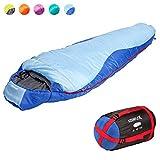 KeenFlex Mumienschlafsack 350 - 3 Jahreszeiten -5℃ + 15℃ - Hochentwickeltes Wärmeregulierungssystem – Ideal für Camping, Backpacking oder Wandern – (Blau)