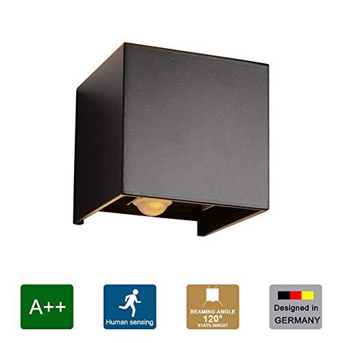 Klighten LED Wandbeleuchtung mit Bewegungsmelder, IP65 Wasserdicht Einstellbare Lichtstrahl Design Außen Wandlampe, 12W Warmweiß, Schwarz