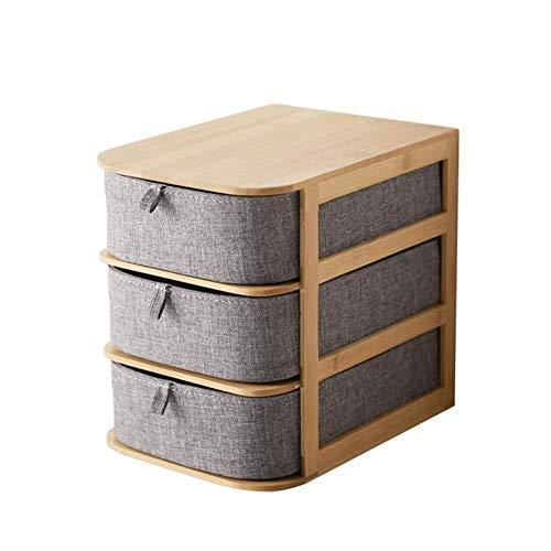 beautygoods Stoff schubladenbox aufbewahrungsbox mit schubladen, Bambus, wasserfestem Oxford Stoff, Multi-Layer-Schubladen aufbewahrungsbox, praktische Griff, fest und stabil, einfach zu nehmen.