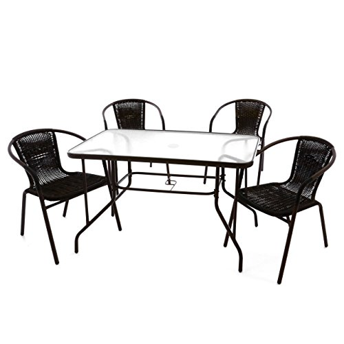 5-teiliges Gartenmöbel-Set – Gartengarnitur Sitzgruppe Sitzgarnitur aus Bistrostühlen & Esstisch – Stahl Kunststoff Glas – braun dunkelbraun