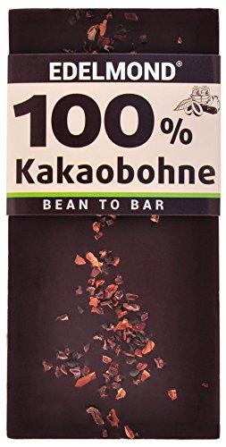 Edelmond 100% geröstete Edel Kakaobohnen. Nur eine Zutat. Kein Zusatz von Kakaomasse. Extrem Bitter, da ohne Zucker.