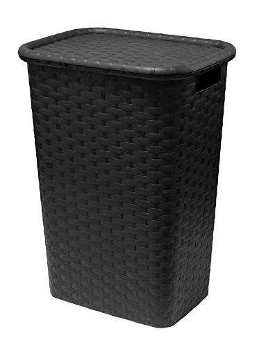 Multistore 2002 Wäschekorb Wäschebox Wäschetruhe in Flechtoptik 65 Liter 44x33x61cm Farbe Weiss oder Braun (Schwarz)