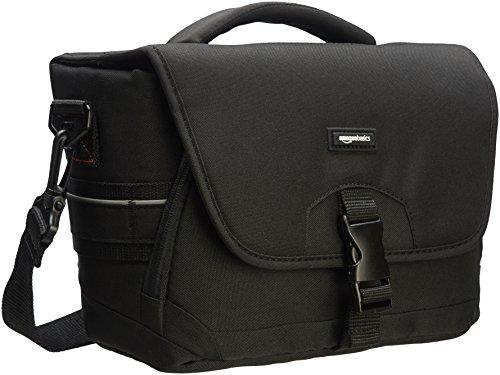 AmazonBasics - Mittlere Schultertasche für SLR-Kamera und Zubehör, Schwarz mit grauer Innenausstattung