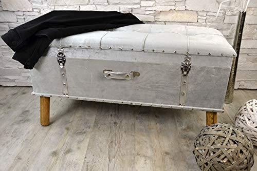 Livitat Hocker Polsterhocker Suitcase Pouf Truhe Staufach Truhenbank Sitzbank Ottomane Silber B90 x T40 x H47 cm LV2077