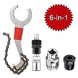 6-in-1 Fahrrad Kassette Removal Tool mit Kurbelabzieher und Innenlager-Entferner 5-11 Fach Kompatibel Kettenpeitsche Fahrrad Reparatur Werkzeug Set Kurbel Kette Achse Demontage Werkzeug