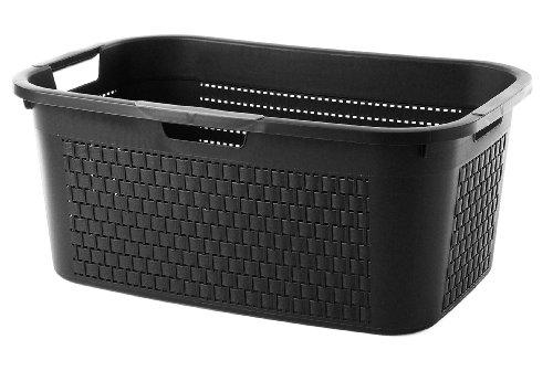 Sundis Wäschekorb 'Country' in schwarzer Rattan Optik - stabiler Kunststoff Wäschesammler, 40Liter - leichte Wäschetruhe mit guter Belüftung - angenehmes Tragen der Wäschebox - 59 x 39 x 25.2 cm - schwarz
