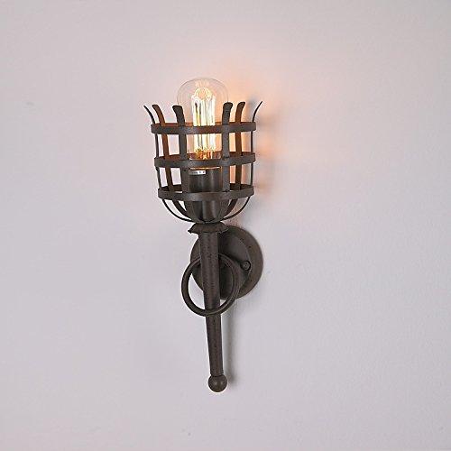 Nostalgische Wandfackel mit Gitterschutz Wandleuchte | Fackel-Leuchte rostfarben | Wandlampe H:38cm Ø 15cm