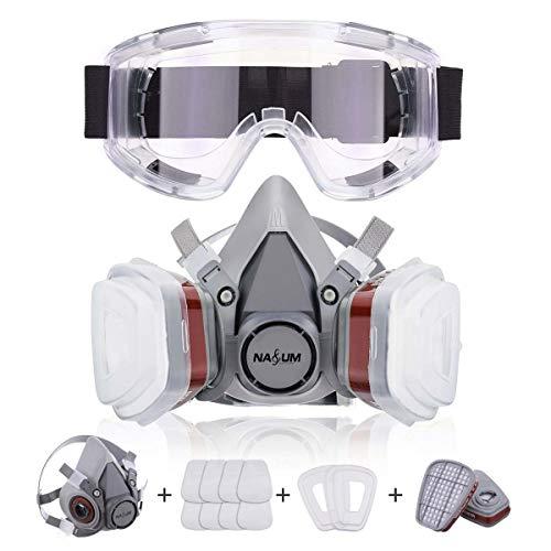 Atemschutzmaske NASUM Schutz Halbmaske für Farbspritz, Staub, Chemikalien, Schutz Geruchsminderung für Sprüh-, Sanierungs-,Lackier- und Schleifarbeiten(neu)