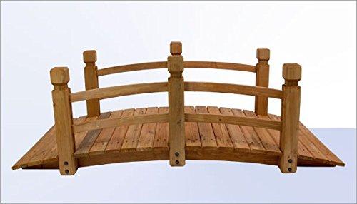 Gartenbrücke - Teichbrücke - Holzbrücke Natur LxBxH: 148x65x54 cm - Vollholz kesseldruckimprägniert