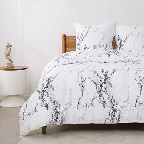 Bedsure Baumwolle Bettwäsche 135x200 cm Weiß Bettbezüge mit Mamor Muster, 2-Teilig Super Weiche Atmungsaktive Baumwollbettwäsche mit Reißverschluss und 80x80cm Kissenbezug