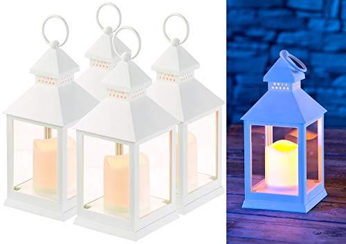 Lunartec Laterne mit LEDkerze: 4er Pack Laterne mit flackernder LED-Kerze und Timer, Batteriebetrieb (Laterne mit LED Beleuchtung)