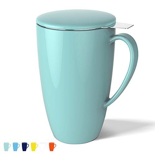 Sweese 2101 Porzellan Tasse, Teesieb Becher, Teetassen mit Sieb und Deckel, Helltükis, 400ML