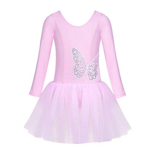 CHICTRY Kinder Ballettanzug Langarm Ballett Trikot Tanzbody mit Röckchen Mädchen Kleider Tanzkleid mit Schmetterling Muster Gr. 98-140 Rosa 116