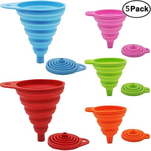 JEZOMONY Silikon-Trichter Satz faltbar (5 Stück) für Küche und Haushalt Mini Hitzebeständig Lebensmittelecht Zusammenklappbar 5er-Set: Grün,Rot,Blau,Pink,Orange (groß+klin)
