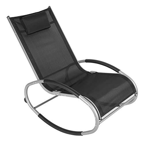 WOLTU Schwingliege Liegestuhl Sonnenliege Gartenliege Schaukelstuhl Relaxliege, bis 160 KG belastbar, atmungsaktiver Textilene Bezug, für Garten und Terrasse, Schwarz, LS003sz