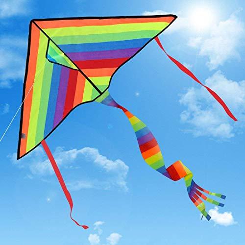 Drachen Delta Basic Bunt- Regenbogenfarben Einleiner inkl. 80m Drachenschnur für Kinder, Erwachsene und Familien   Einfach zu Fliegen bei Starkem Wind oder Leichter Brise   Leicht und Stabil