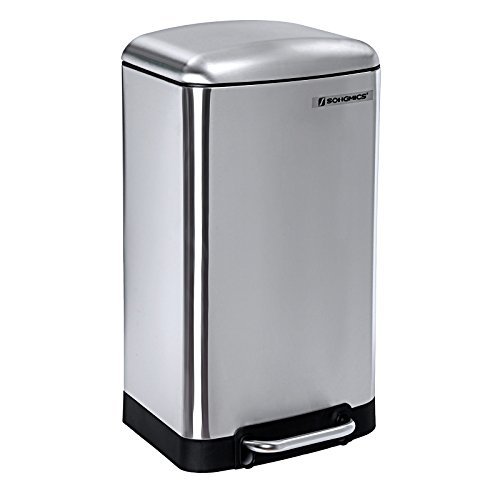 Songmics Mülleimer Abfallbehälter Abfalleimer 30 L für Küche Treteimer Edelstahl LTB01L