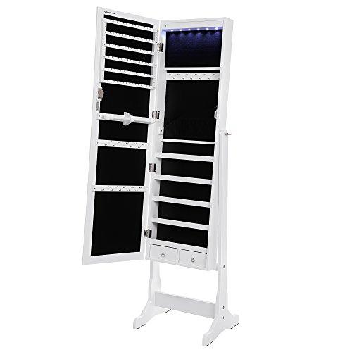 Songmics LED Beleuchtung Schmuckschrank spiegel mit 5 Ablagen und 2 kleine Schubladen abschließbar JBC94W