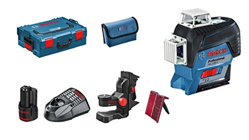 Bosch Professional Linienlaser rot GLL 3-80 C, App Funktion, Ladegerät, Schutztasche (1 x 2,0 Ah Akku, Arbeitsbereich mit Empfänger: 120 m, 12 Volt System, L-Boxx 136)