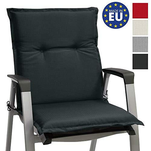 Beautissu Niedriglehner Gartenstuhl Auflage Base NL 100x50x6cm Sitzkissen Rückenkissen Stuhlkissen für Gartenstühle Sitzpolster Graphit-Grau