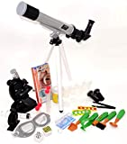 EDU Toys Teleskop und Mikroskop Set für den Einstieg in Kosmos und Mikrokosmos mit Outdoor Zubehör und Becherlupe